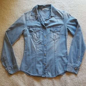 Zara denim - lightly worn long sleeve button down